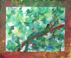 Rainforest Animals. Background painted with tissue paper. Very effective. Follow link for more examples.