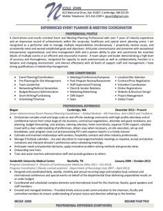 event planner resume google search - Event Planner Resume