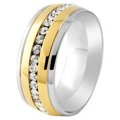 Crucible Two-tone Cubic Zirconia Eternity Band Ring (1