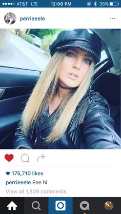 Perrie Edwards channels The Village People in a leather Bakerboy cap Instagram Snap, Latest Instagram, Perry Little Mix, Little Mix Perrie Edwards, Village People, Fringe Jacket, Leather Cap, Spice Girls, Film