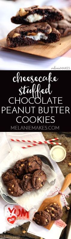 Decadent, almost brownie like, chocolate cookies are studded with peanut butter chips before being stuffed with a rich, cheesecake filling. These Cheesecake Stuffed Chocolate Peanut Butter Cookies are sure to disappear from your cookie jar at record speed.