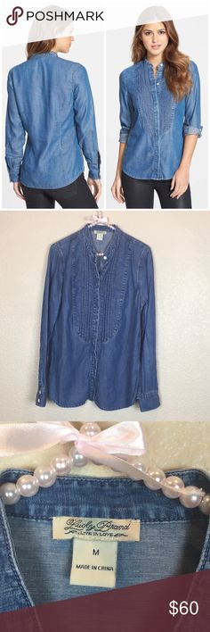 """Lucky Brand Long Sleeve Denim Tuxedo Shirt Excellent condition. 27"""" length. Bust approx 19.5"""" across. Front button closure. Band collar. Button cuffs. Tencel, lyocell, cotton, linen (no care tag, info from Nordstrom website). Offers welcome through offer tab. No trades. 11124171501 Lucky Brand Tops Button Down Shirts"""