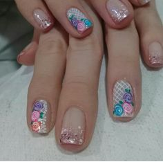 Uñas💅 Cute Nail Art, Cute Nails, Pretty Nails, Manicure And Pedicure, Gel Nails, Nail Polish, Autumn Nails, Spring Nails, Natural Acrylic Nails
