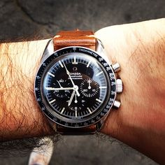 1968 Omega Speedmaster on HODINKEE brown leather strap.