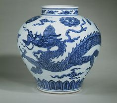 This jar is from the Ming dynasty, China. Porcelain was first made in China during the T'ang dynasty CE). The blue and white porcelains of the Ming dynasty show this art at its peak Blue And White China, Blue China, Ceramic Painting, Ceramic Art, Porcelain Ceramics, White Ceramics, Dragon China, Dragon Bowl, History Of Ceramics