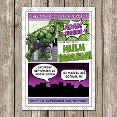 Invitación de Hulk Hulk Smash invitación por LittleMsShutterbug
