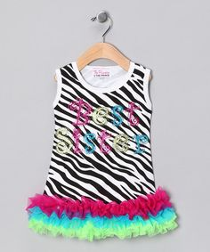 Take a look at this Zebra Best Sister Ruffle Dress - Infant, Toddler & Girls by Girly Flair on #zulily today!
