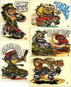 Odd Rods - Stickers from the Funny Rats, Classic Hot Rod, Rat Fink, Garage Art, Collector Cards, Cartoon Art, Cars Cartoon, Love Stickers, Car Drawings