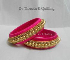 Silk Thread Bangles Design, Silk Thread Necklace, Silk Bangles, Bridal Bangles, Thread Jewellery, Handmade Jewelry Designs, Diy Jewelry, Bangles Making, Jewelry Making Tutorials