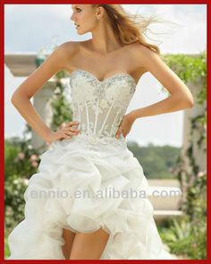 2013 New Design Sexy Wedding dress.  Front Short  and Back long.    In organza ($ 250) or in silk taffeta ($ 450).  --- Ask information to http://www.dream-weddings-in-italy.com/dream_wedding_in_italy_bridal_short_dresses.php