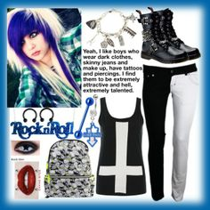 Designer Clothes, Shoes & Bags for Women Scene Outfits, Emo Outfits, Cute Emo, Alternative Fashion, Her Hair, Skinny Jeans, Pastel Goth, My Style, Awesome Stuff