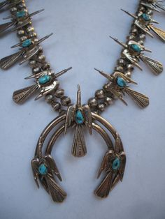 RARE Vintage NAVAJO Sterling Silver & TURQUOISE Peyote Bird Squash Blossom Necklace.  TurquoiseKachina on Etsy, $1289.00