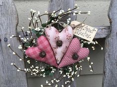 HEART WREATH Primitive Pip Berry Hanger Folk Art Peg