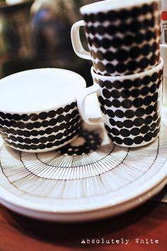 Marimekko Rasymatto mugs, drink your tea in style, a touch of monochrome always looks divine.