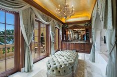 Master Bath - Italian Mansion, Naples, Florida - Gilded cove ceiling