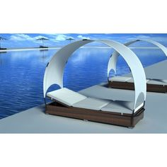 New outdoor rattan lounge bed lounge #chair with canopy #garden #furniture brown,  View more on the LINK: http://www.zeppy.io/product/gb/2/371482350331/
