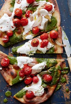Charred Tomato Pesto Pizza from www.whatsgabycook... the PERFECT summer pizza (@What's Gaby Cooking)