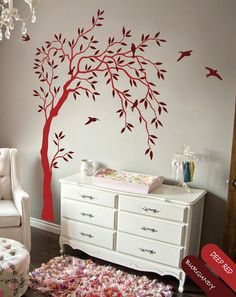 Creative Nursery Wall Tree Decal - Summer Trees Decal - Baby Room Decal with Birds and Leaves - 038 on Etsy, $79.00
