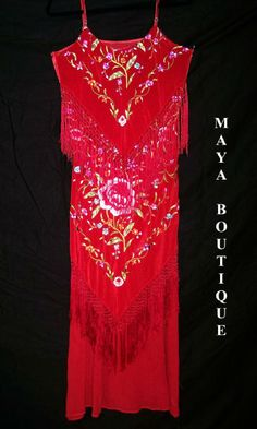 Red Fringe Dress Plus Size | 1920's Flapper Style Dress Embroidered Silk Red Multi Maya Matazaro ...