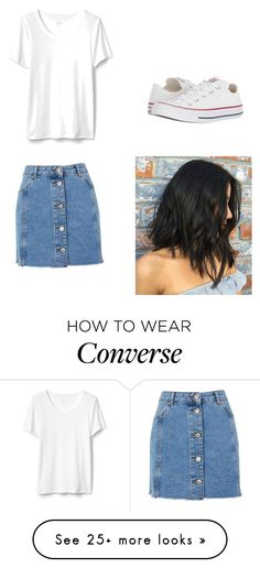 """Untitled #5"" by jazminesaldivar on Polyvore featuring Topshop, Converse and denimskirts"