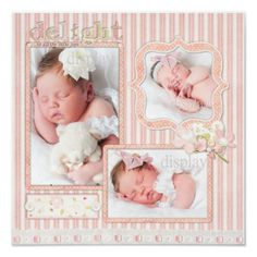 Pink Stripe Baby Girl Three Photo Scrapbook Page Poster Baby Boy Scrapbook, Scrapbook Bebe, Bridal Shower Scrapbook, Baby Scrapbook Pages, Birthday Scrapbook, Scrapbook Page Layouts, Scrapbook Paper, Pregnancy Scrapbook, Yearbook Layouts