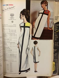 Sewing Retro Patterns Yves Saint Laurent from the pages of Vogue Patterns catalogs. Vintage Outfits, Vintage Dresses, Vintage Mode, Vintage Ladies, 1960s Fashion, Vintage Fashion, Steampunk Fashion, Gothic Fashion, Mondrian Dress