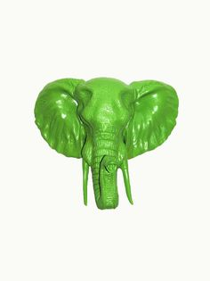 The Hubert  Apple Green Resin Elephant Head by WhiteFauxTaxidermy