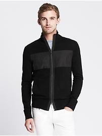 Woven-Stripe Zip Sweater Jacket