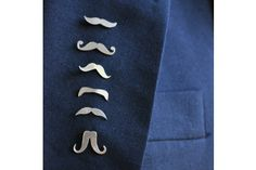 Mustache Silver Lapel Pins - Sets of 3 by SMITH Jewellery on hellopretty.co.za