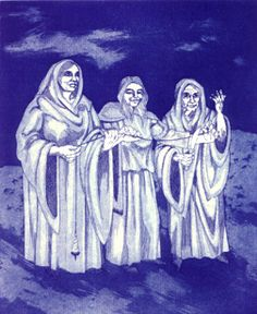 """The Weird Sisters. Originally, Weird meant destiny. It was the name of the eldest Fate ÑEnglish Wyrd, Norse Urth, German Wurt. Medieval sources describe her as weaving fate, knotting, causing, arousing, ordaining, dissolving, and transforming.    An Anglo-Saxon proverb circa 900 CE declares that """"Wyrd is mightiest.""""   (Wyrd byth swithost.)   Her craft encompassed foreknowledge, prophecy and all the shamanic arts.The British sometimes called witches weird-woman or weird-wife."""