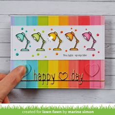 Blue Marine Craft: Lawn Fawn - Rainbow Light Up Card Rainbow Card, Rainbow Paper, Rainbow Theme, Rainbow Colors, Lawn Fawn Blog, Happy Hearts Day, Lawn Fawn Stamps, Whimsy Stamps, Rainbow Light