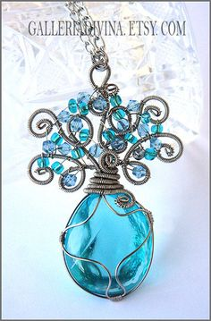 Wirewrapped blue tree pendant by AntonijaGospic on Etsy, $28.00