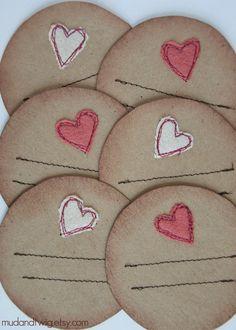 Mason jar gift labels hearts 6pc r