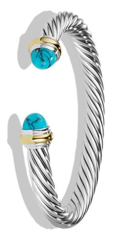 Swooning over this classic David Yurman cuff bracelet with turquoise and gold details.