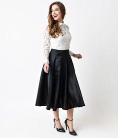 Vintage 1950s Style Black Midi Circle Swing Skirt