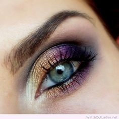 Best-Eye-Makeup-Ideas-for-Blue-Eyes-Gold-and-Purple