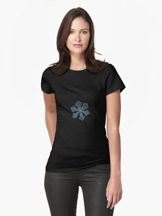 Women's fitted t-shirt with snowflake ppicture. Real snowflake macro photo, captured on dark woolen fabric in natural light. Horizontal panoramic version with vignetting. • Also buy this artwork on apparel, stickers, phone cases, and more.