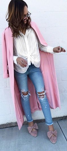 #winter #outfits white button shirt, ripped jeans, pink long jacket, flats