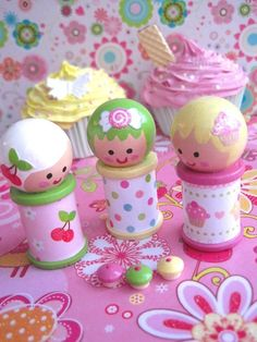SpOOLiEs - Wooden Spool Dolls - CUPCAKE GIRLS Set of 3. $19.95, via Etsy.