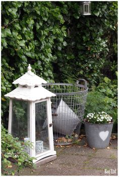 Garden lantern, wire basket and zinc buckets Garden Lanterns, Wire Baskets, Green Garden, Buckets, Arch, Outdoor Structures, In This Moment, Lights, Bag
