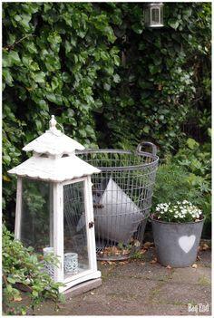 Garden lantern, wire basket and zinc buckets