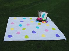 Perfect for Easter picnic or Egg Hunt Celebrations!! Darling Custom Made, Hand Painted Picnic Blanket  5 feet x 5 feet  Each blanket is made on a