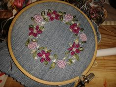 "First decent piece of embroidery 4"" hoop on denim scrap."