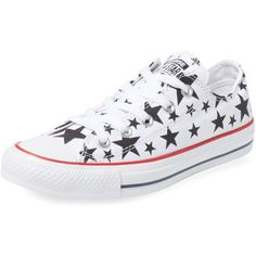 Converse Chuck Taylor All Star Stars Low Top Sneaker ($39) ❤ liked on Polyvore featuring shoes, sneakers, white, low top, lace up shoes, star shoes, converse sneakers and white trainers