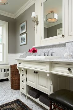 wall color Benjamin Moore Rockport Gray  {if I ever did gray again, I like this warm shade...plus lots of white!}