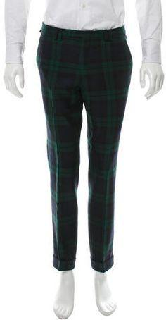 Kenzo Wool Plaid Pants Mens Dress Pants, Plaid Pants, Green Wool, Navy And Green, Kenzo, Sweatpants, Stylish, Tops, Fashion