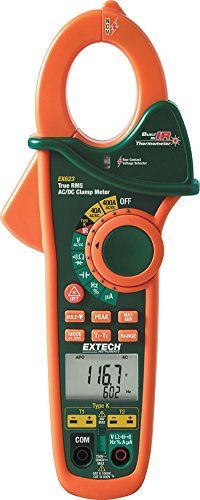 Extech EX623 400A True RMS AC/DC Clamp Meter with Dual Type K Temperature Input + InfraRed Thermometer + Non-Contact AC Voltage Detector  http://www.handtoolskit.com/extech-ex623-400a-true-rms-acdc-clamp-meter-with-dual-type-k-temperature-input-infrared-thermometer-non-contact-ac-voltage-detector/