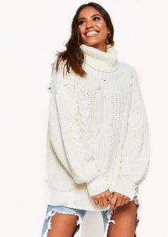 3e89980e43 Missyempire - Francesca Cream Cable Knit Roll Neck Oversized Jumper  Oversized Jumper