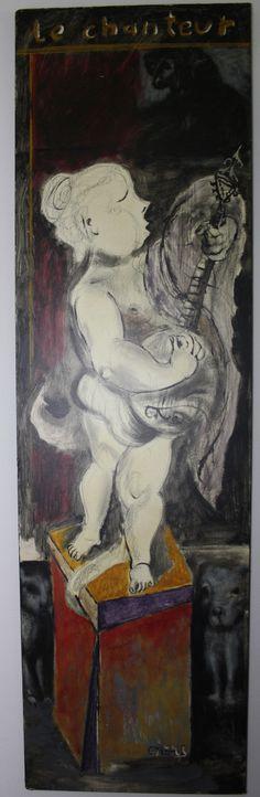 """""""Le Chanteur"""", Mischtechnik auf Holztischplatte, 57 x 197 cm, 1500,- EURO, Anfragen an: Werkeverwaltung Carlo Cazals - Britta Kremke Mail: b.kremke@kremke.de Tel. 038722-227-14"""