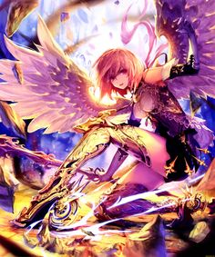 Anime picture with shingeki no bahamut tachikawa mushimaro (bimo) single tall image short hair highres red eyes pink hair absurdres scan girl dress gloves weapon wings elbow gloves thigh boots Anime Angel, 5 Anime, Girls Anime, Fanarts Anime, Anime Art Girl, Manga Art, Anime Characters, Fantasy Characters, Fantasy Anime